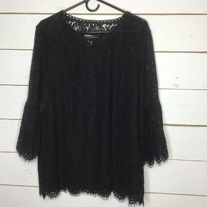 New Isaac Mizrahi Live Blouse Top Lace Bell Sleeve